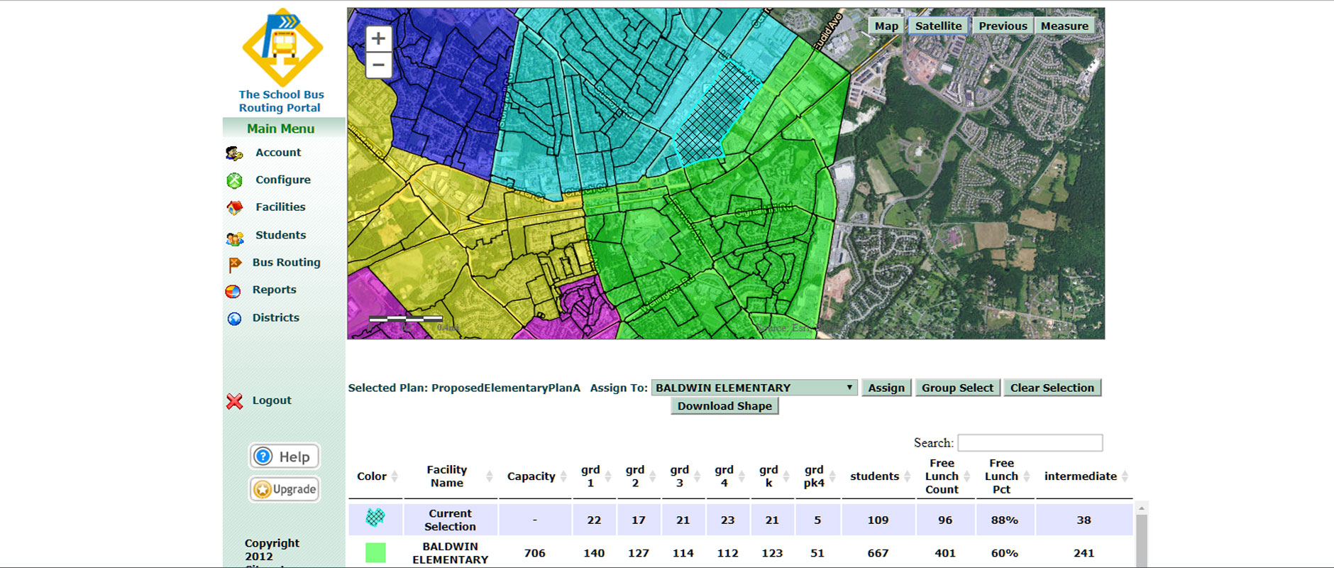 Screenshot of Attendance Area Redistricting software